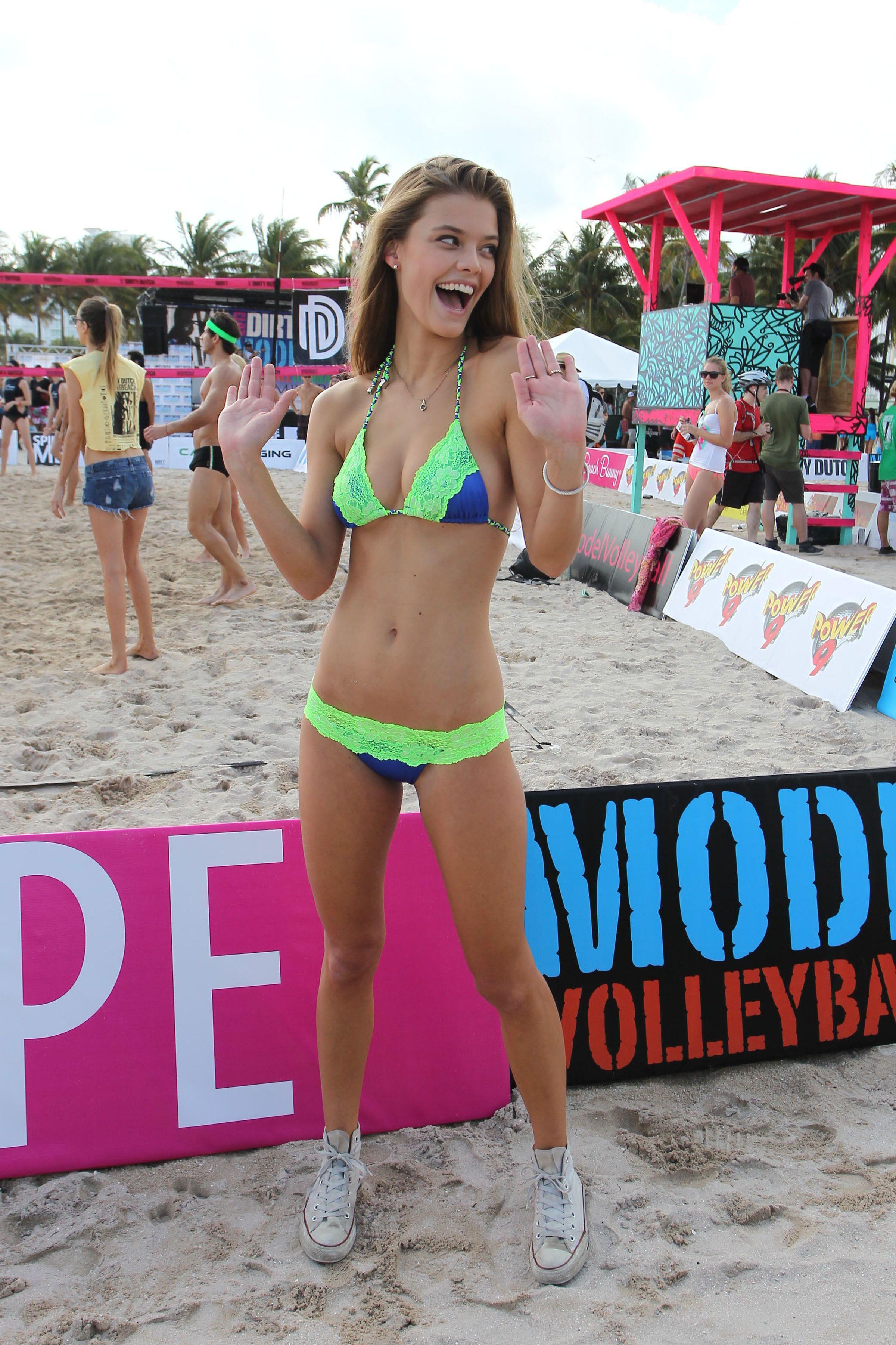 model on beach